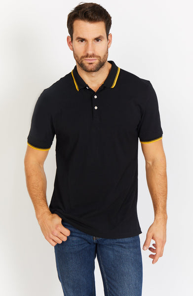 Black Short Sleeve Polo Shirt Blanc