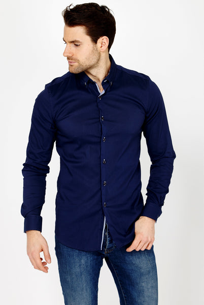 Clement Indigo Blue Long Sleeve Button Up Shirt Blanc