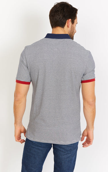 Gray Stripe Short Sleeve Polo Shirt Blanc