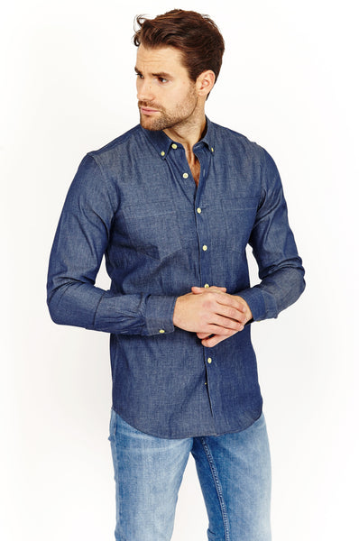 David Denim Blue Long Sleeve Button Up Shirt Blanc
