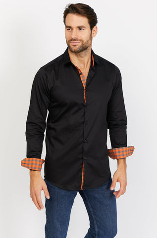 Dylan Deep Black Long Sleeve Button Up Shirt Blanc