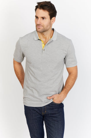 Eli Light Grey Organic Polo Shirt Blanc