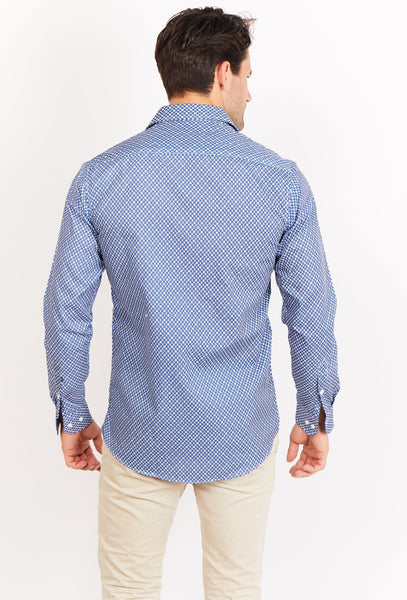 Elijah Cyan Blue Long Sleeve Button Up Shirt Blanc