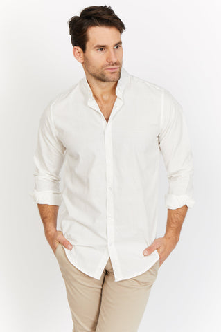 Enzo White and Cream Check Organic Button Up Blanc
