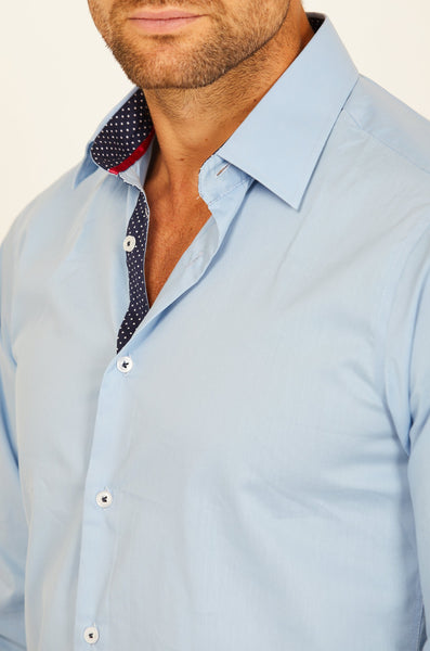 Ethan Aqua Blue Long Sleeve Button Up Shirt Blanc
