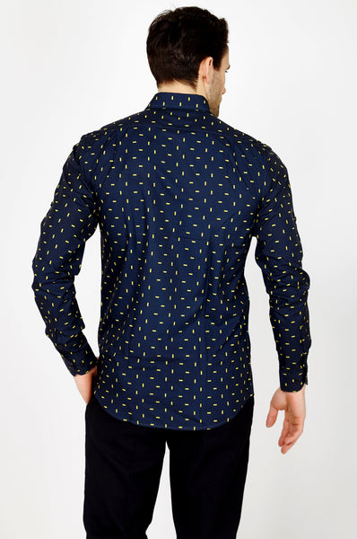 Ethan Navy Long Sleeve Button Up Shirt Blanc