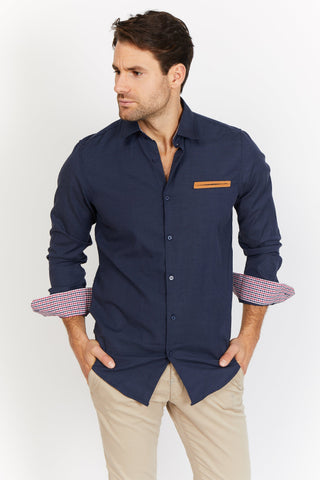 Ethan Navy Organic Button Up Blanc