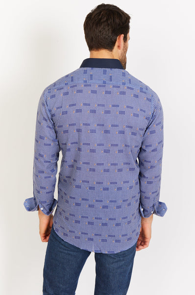 Royal Blue Print Button Up Dress Shirt with Matching Face Mask Blanc