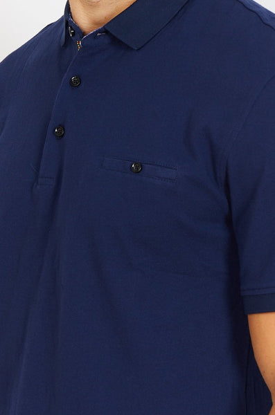 Navy Short Sleeve Polo Shirt Blanc