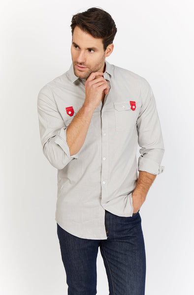 Gabriel Light Gray Organic Button Up Blanc