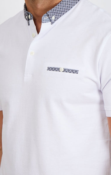 Greyson White Short Sleeve Polo Shirt Blanc