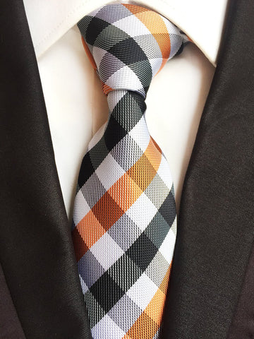 Handmade Tie // ORANGE + BLACK CHECK Blanc