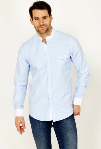 Hugo Light Blue Long Sleeve Button Up Shirt Blanc