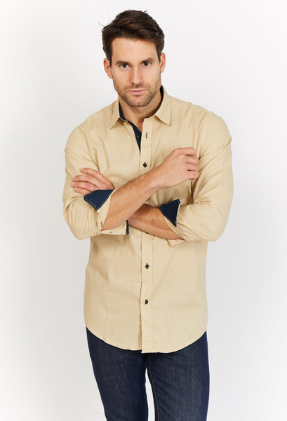 Hugo Tan Button Organic Button Up Blanc