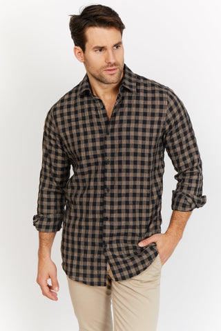 Isaac Black Checkered Organic Button Up Blanc