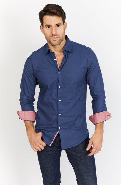 Jayden Royal Blue Long Sleeve Button Up Shirt Blanc