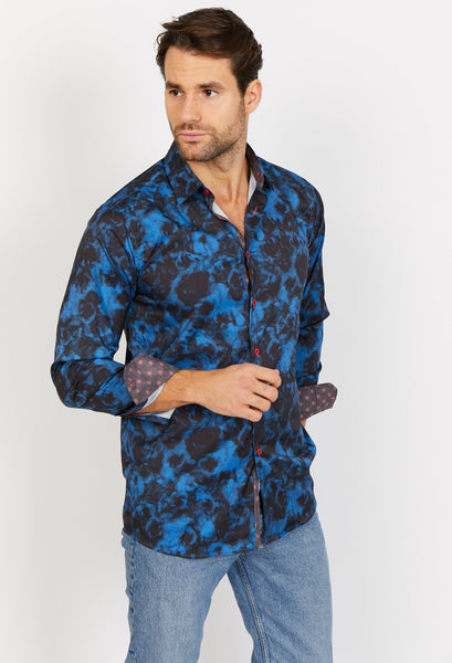 Joseph Deep Blue-Black Long Sleeve Button Up Shirt Blanc