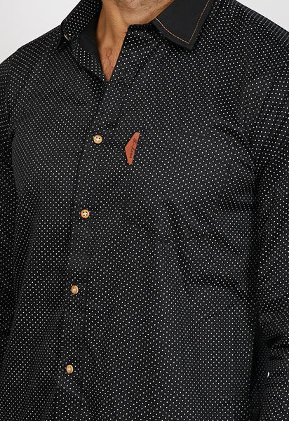 Julian Cambridge Black Long Sleeve Button Up Shirt Blanc