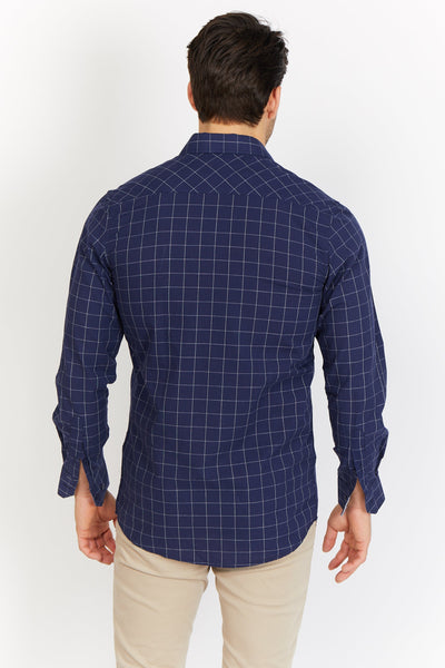Larry Navy Check Organic Button Up Blanc