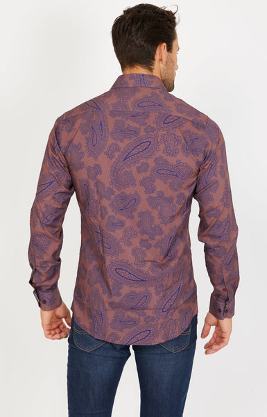 Lee Paisley Long Sleeve Button Up Shirt Blanc