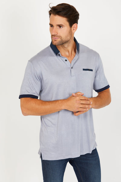 Leo Slaty Grey Short Sleeve Polo Shirt Blanc