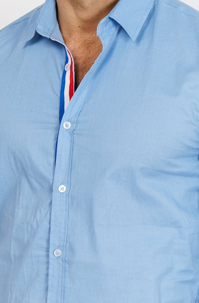 Leon Light Blue Sapphire Organic Button Up Blanc