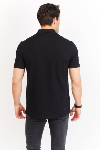 Louis Deep Black Short Sleeve Polo Shirt Blanc