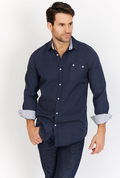 Louis Navy Organic Button Up Blanc
