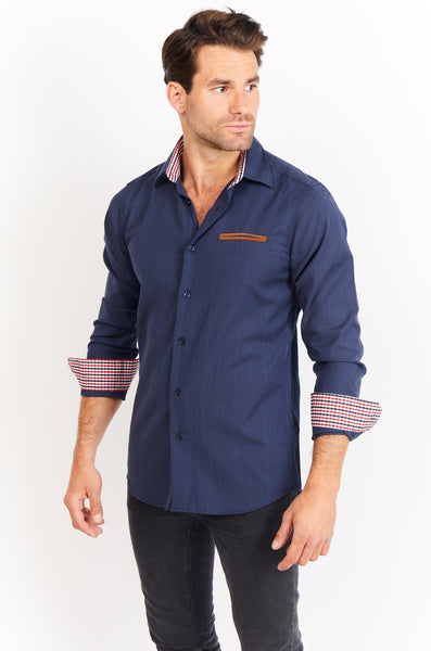 Lucas Navy Blue Long Sleeve Button Up Shirt Blanc