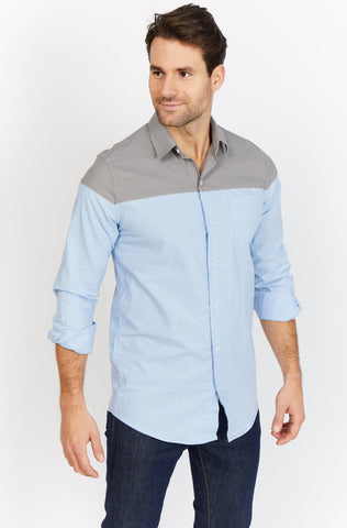Luke Blue and Gray Organic Button Down Blanc