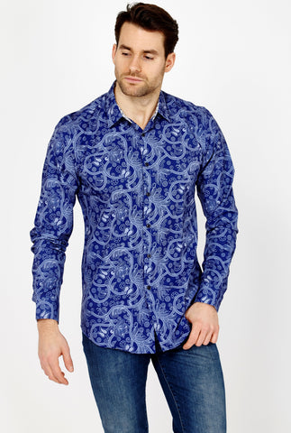 Martin Blue Paisley Long Sleeve Button Up Shirt Blanc