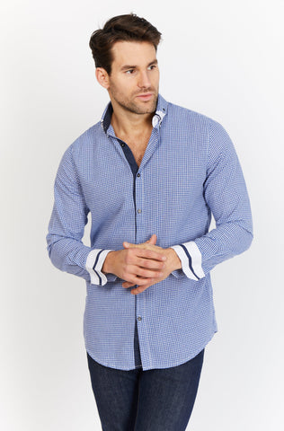 Martin Navy Organic Button Up Blanc