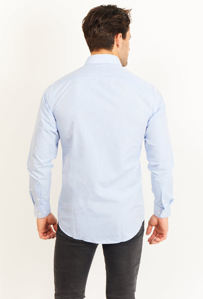 Mason Sky Blue Long Sleeve Button Up Shirt Blanc