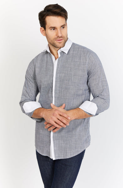 Michael Silvery Gray Long Sleeve Button Up Shirt Blanc