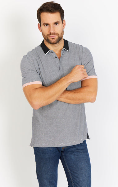 Gray Short Sleeve Polo Shirt Blanc