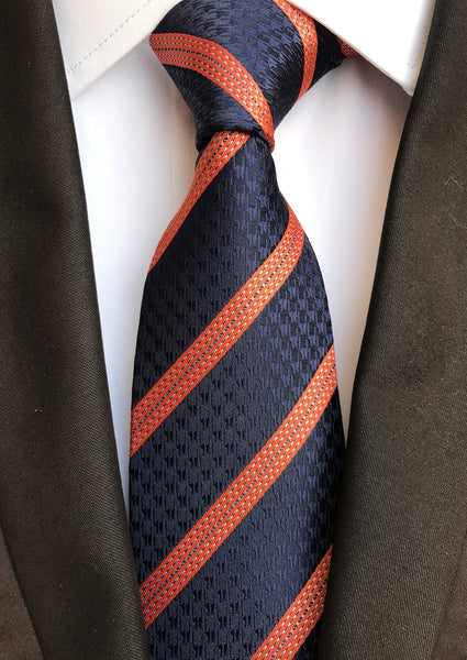 Navy Blue & Orange Stripe Handmade Neck Tie Blanc