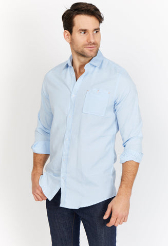 Neiman Light Blue Organic Button Up Blanc