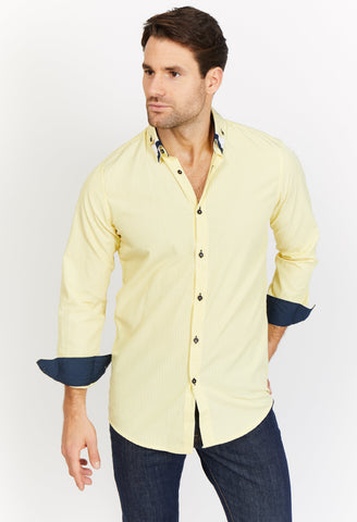 Noah Yellow Organic Button Up Blanc