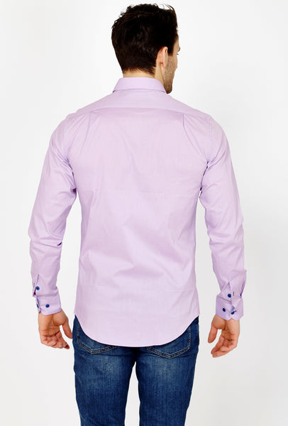 Noe Lavender Long Sleeve Button Up Shirt Blanc