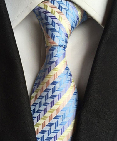 Orion Handmade Tie // GOLD + BLUE Blanc