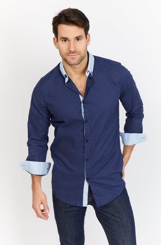 Oscar Blue Checkered Organic Button Up Blanc