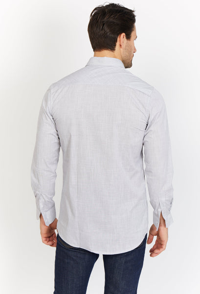 Paul Oxfard Gray Organic Button Up Blanc