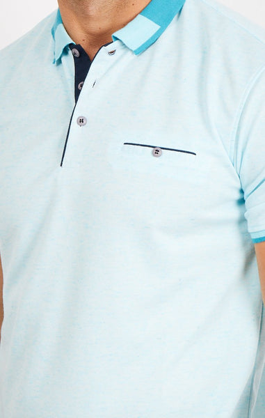Paul Sky Blue Short Sleeve Polo Shirt Blanc