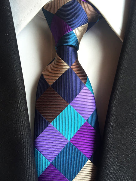 Purple Check Handmade Neck Tie Blanc