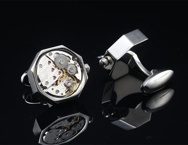 QUARTZ WATCH CUFFLINKS // SILVERTONED Blanc