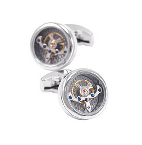 QUARTZ WATCH CUFFLINKS // SILVERTONED JEWEL Blanc