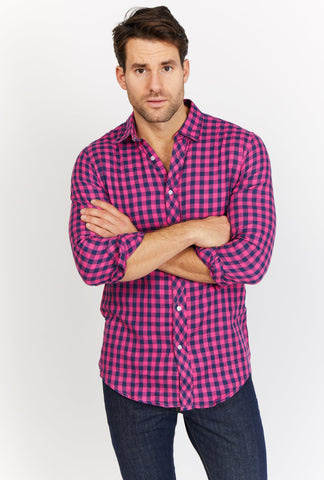Raphael Blue and Pink Check Organic Button Up Blanc