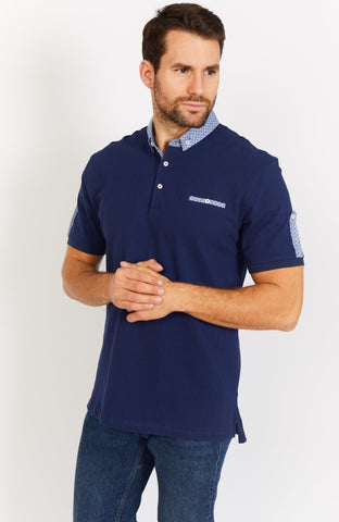 Royal Blue Short Sleeve Polo Shirt Blanc