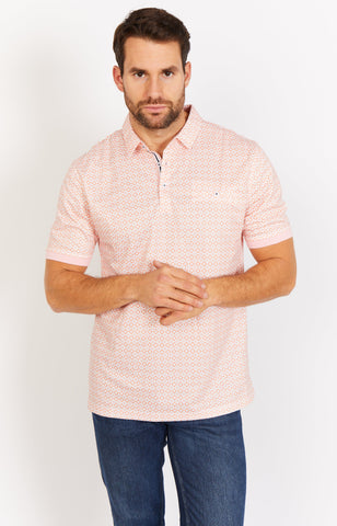 Peach Short Sleeve Polo Shirt Blanc