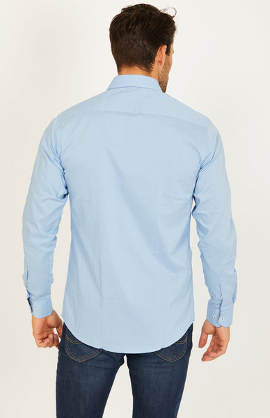 Rick Azure Blue Long Sleeve Button Up Shirt Blanc
